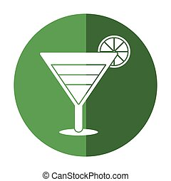 soft drink cocktail lemon and shadow vector illustration eps...