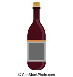 red wine bottle with cork empty label vector illustration...