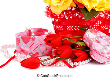 Valentine's day - Colorful flowers, candles and gift box...