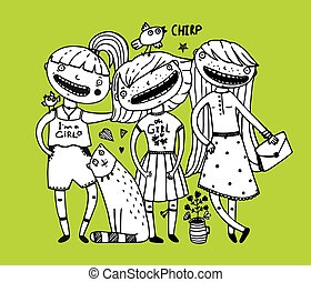 Girls friends and cat design outline girlish style - Young...