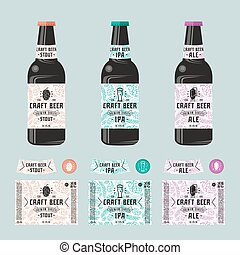 Set of templates label for craft beer. Print on white...