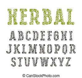 Slab serif decorative font with herbal texture. Isolated on...