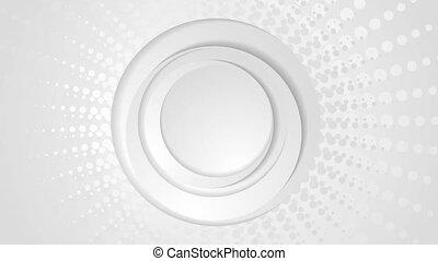 Grey circles and halftone beams video animation - Grey...