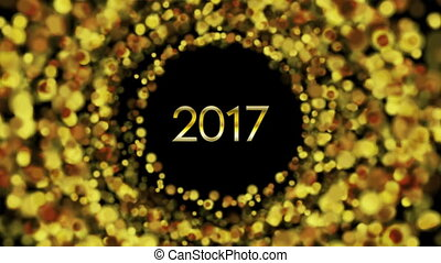 Glowing golden particles New Year 2017 video animation -...
