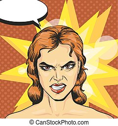 Vector illustration of angry, infuriated woman in pop art style