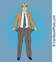 Vector illustration of broke businessman in retro pop art style