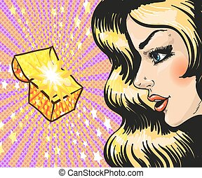 Vector illustration of woman looking at gift, pop art style