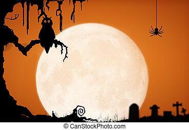 Halloween night background with moon, owl, spider,...