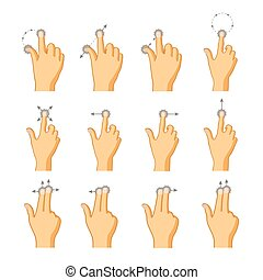 Flat colorful icons of touch gestures on white - Set of flat...