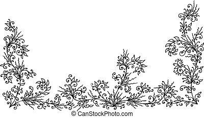 Floral border 1 - Refined floral vignette. Eau-forte...