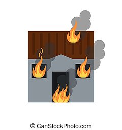 house fire bursts windows roof vector illustration eps 10