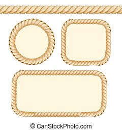 Different Thickness Rope Frames and Borders Set. Vector -...