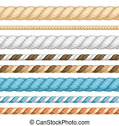 Different Thickness Rope Line Set. Vector - Different Color...