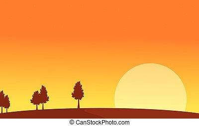 At sunrise scenery with tree backgrounds