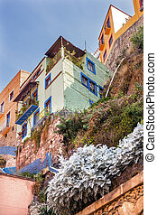 Many Colored Houses Guanajuato Mexico - Many Colored Green...