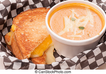 chickpea and squash soup with grilled cheese - squash and...
