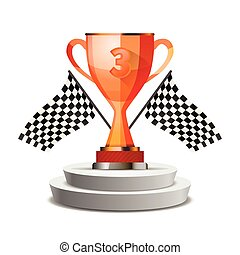 Bright glossy winner cup for third place
