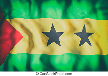 Democratic Republic of Sao Tome and Principe flag waving -...
