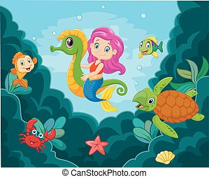 Cartoon little mermaid playing with seahorse - Vector...