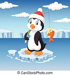 Cartoon fishing penguin standing on ice floe - Vector...