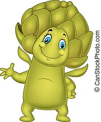 Cartoon artichoke waving hand - Vector illustration of...