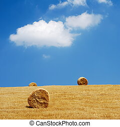Three straw bales in a field with blue and white sky