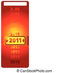 2011. Vector, the date counter. yellow label 2011.