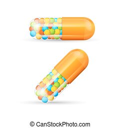 Vitamine Pills with Granules. Vector - Colorful Vitamine...