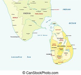 sri lanca and south india administrative map