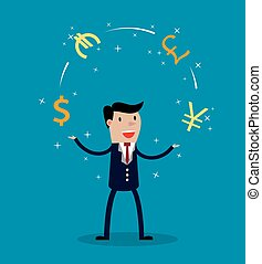 Businessman juggle with different currency. Financial...