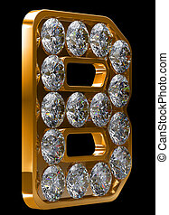 Golden B letter incrusted with diamonds