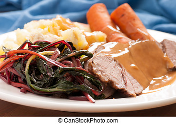 slow cooker pot roast with swiss chard mashed potatoes and...