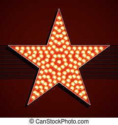 Broadway style light bulb star illustration