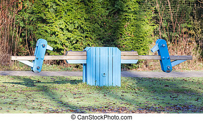 Old wooden seesaw
