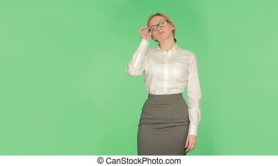 body language. women. chromakey, glasses in the mouth