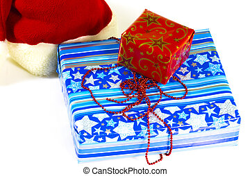 A pile of colorful Christmas gifts isolated on white