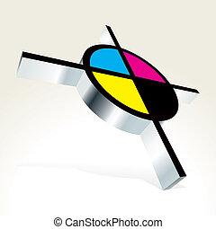 3D CMYK target - vector illustration