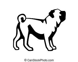 Pug dog - Ink illustration of pug dog