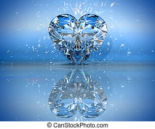 Heart shaped diamond over blue with reflection Extralarge...
