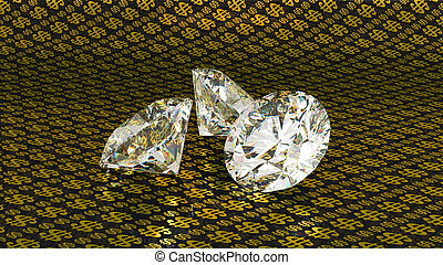 Large diamonds over golden dollar background - Three large...