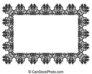 Black lace frame - Elegant black lace frame on a white...