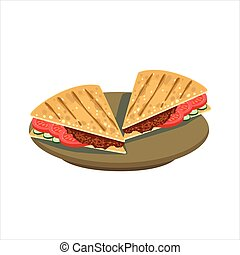 Meat Sandwich In Pita Bread Traditional Mexican Cuisine Dish...
