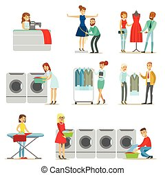 People At The Laundry, Dry Cleaning And Tailoring Service...