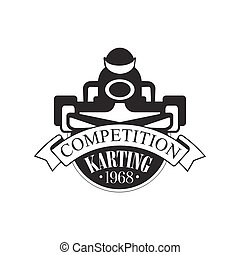 Karting Club Competition Black And White Logo Design...