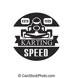 Karting Club Speed Racing Black And White Logo Design Template With Rider In Kart Silhouette