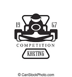 Karting Club Racing Competition Black And White Logo Design...