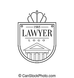 Law Firm And Lawyer Office Black And White Shield Shaped Logo Template With Justice Symbol Silhouette