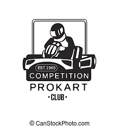 Karting Club Prokart Competition Black And White Logo Design...