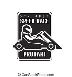 Karting Club Speed Race Black And White Logo Design Template...