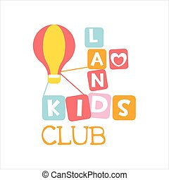 Kids Land Playground And Entertainment Club Colorful Promo Sign With Toy Hot Air Baloon For The Playing Space For Children